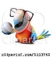 3d Scarlet Macaw Parrot Holding A Golf Ball On A White Background