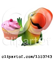 Clipart Of A 3d Green Macaw Parrot Holding A Cupcake On A White Background Royalty Free Illustration