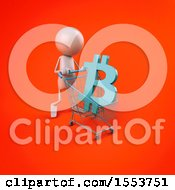 Poster, Art Print Of 3d White Man With A Shopping Cart With A Bitcoin Currency Symbol On A Colored Background