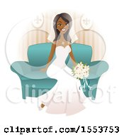 Beautiful Happy African American Bride Sitting On A Sofa