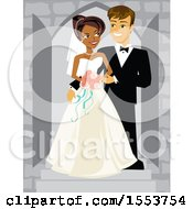 Clipart Of A Happy African American Bride And Caucasian Groom Royalty Free Vector Illustration