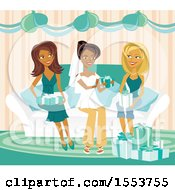 Clipart Of A Happy African American Bride And Friends At A Bridal Shower Royalty Free Vector Illustration