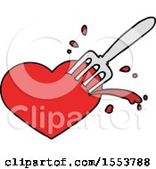 Poster, Art Print Of Cartoon Love Heart Stuck With Fork