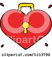 Poster, Art Print Of Cartoon Love Heart With Lock