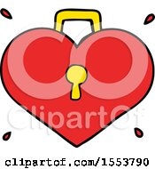 Cartoon Love Heart With Lock