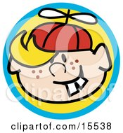 Happy Freckled Blond Haired Boy With Buck Teeth Wearing A Spinner Hat Clipart Illustration