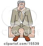 Sad Businessman Sitting Alone On A Bench Clipart Illustration