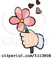 Poster, Art Print Of Cartoon Hand Holding Flower