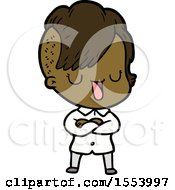 Cute Cartoon Girl With Hipster Haircut
