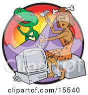 Handy Cavewoman With A Bone In Her Hair Chiseling A Rock While A Big T Rex Eyes Her From Behind A Mountain Clipart Illustration