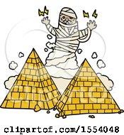 Cartoon Mummy And Pyramids