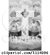 Poster, Art Print Of Winged Angels And Cherubs In Prayer At The Sacred Heart Of Jesus Christ