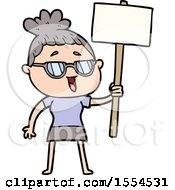 Cartoon Happy Woman Wearing Spectacles