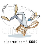 Surprised Man Falling Backwards After Leaning Too Far Back In A Chair