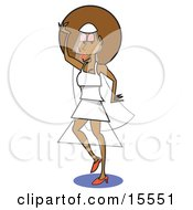 Pretty African American Bride In A Modern Wedding Dress Or A Model Walking The Runway Clipart Illustration