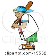 Freckled Blond Boy Wearing A Hat And Holding A Baseball Bat While Playing Clipart Illustration by Andy Nortnik