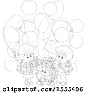 Poster, Art Print Of Black And White Bag With School Children And Party Balloons