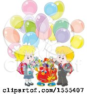 Clipart Of A Happy Bag With School Kids And Party Balloons Royalty Free Vector Illustration
