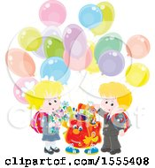 Happy Book Bag With School Children And Party Balloons