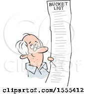 Clipart Of A Cartoon Senior Man With A Long Bucket List Royalty Free Vector Illustration