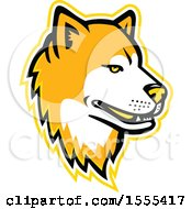 Clipart Of A Retro Akita Dog Mascot Head Royalty Free Vector Illustration