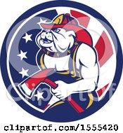 Poster, Art Print Of Retro Bulldog Fireman Holding An Axe In An American Flag Circle