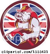 Poster, Art Print Of Retro Bulldog Fireman Holding An Axe In A Union Jack Flag Circle