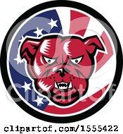 Poster, Art Print Of Retro Red Woodcut Guard Bulldog In An American Flag Circle