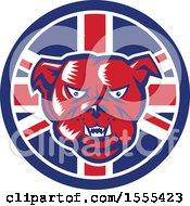 Poster, Art Print Of Retro Red Woodcut Guard Bulldog In A Union Jack Flag Circle