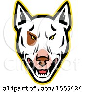 Clipart Of A Retro Bull Terrier Dog Mascot Head Royalty Free Vector Illustration