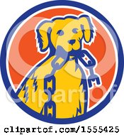 Clipart Of A Retro Golden Retriever Dog Sitting With A Broken Chain In His Mouth Inside A Circle Royalty Free Vector Illustration