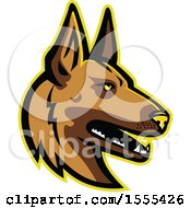 Clipart Of A Retro Belgian Malinois Dog Mascot Head Royalty Free Vector Illustration