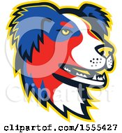 Clipart Of A Retro Australian Shepherd Dog Mascot Head Royalty Free Vector Illustration by patrimonio
