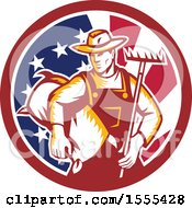 Retro Woodcut Male Farmer Holding A Rake And Sack In An American Flag Circle