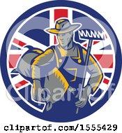 Clipart Of A Retro Woodcut Male Farmer Holding A Rake And Sack In A Union Jack Flag Circle Royalty Free Vector Illustration