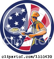 Retro Male Chef With A Pizza On A Peel In An American Flag Circle