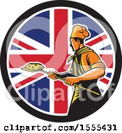 Poster, Art Print Of Retro Male Chef With A Pizza On A Peel In A Union Jack Flag Circle