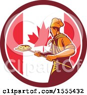 Retro Male Chef With A Pizza On A Peel In A Canadian Flag Circle