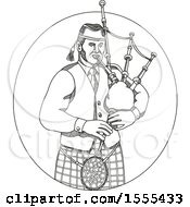 Clipart Of A Sketched Male Scotsman Bagpiper Royalty Free Vector Illustration