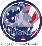 Clipart Of A Retro Male Coal Miner Holding A Pickaxe In An American Flag Circle Royalty Free Vector Illustration