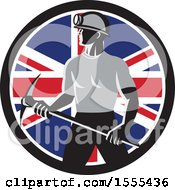 Clipart Of A Retro Male Coal Miner Holding A Pickaxe In A Union Jack Flag Circle Royalty Free Vector Illustration