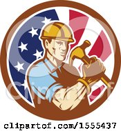 Clipart Of A Retro Male Builder Construction Worker Holding An American Flag Circle Royalty Free Vector Illustration