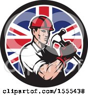 Clipart Of A Retro Male Builder Construction Worker Holding A Union Jack Flag Circle Royalty Free Vector Illustration