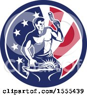 Clipart Of A Retro Blacksmith Worker Hammering In An American Flag Circle Royalty Free Vector Illustration