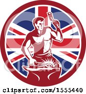 Clipart Of A Retro Blacksmith Worker Hammering In A Union Jack Flag Circle Royalty Free Vector Illustration