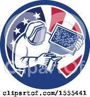 Retro Beekeeper Smoking Out A Hive In An American Flag Circle