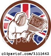 Clipart Of A Retro Beekeeper Smoking Out A Hive In A Union Jack Flag Circle Royalty Free Vector Illustration
