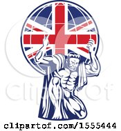 Poster, Art Print Of Retro Strong Man Atlas Kneeling And Holding A Uk Flag Globe On His Shoulders