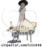 Clipart Of A Cartoon Black Man Writing At A Desk Royalty Free Vector Illustration
