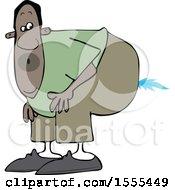 Poster, Art Print Of Cartoon Black Man Farting A Blue Flame